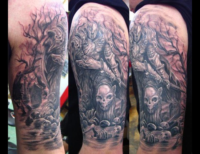 Skull  Warrior  Fantasy Black Grey Arm