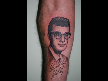 Buddy Holly Portrait Black White