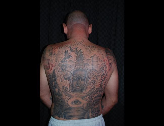 Buddha Backpiece Black White
