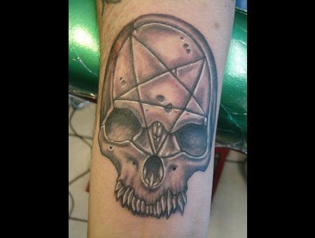 Forearm  Skull Black White