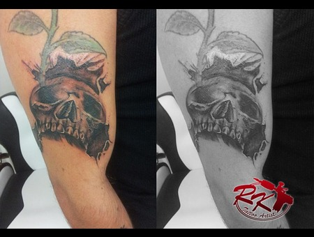 Skull  Arm  Cover Up  Death Black White