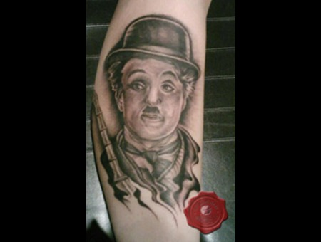 Black And Grey Tattoo  Charlie Chaplin  Leg Tattoo  Portrait Black White