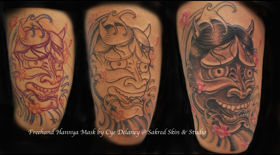 Japanese  Hannya Mask  Leg Piece  Black And Grey