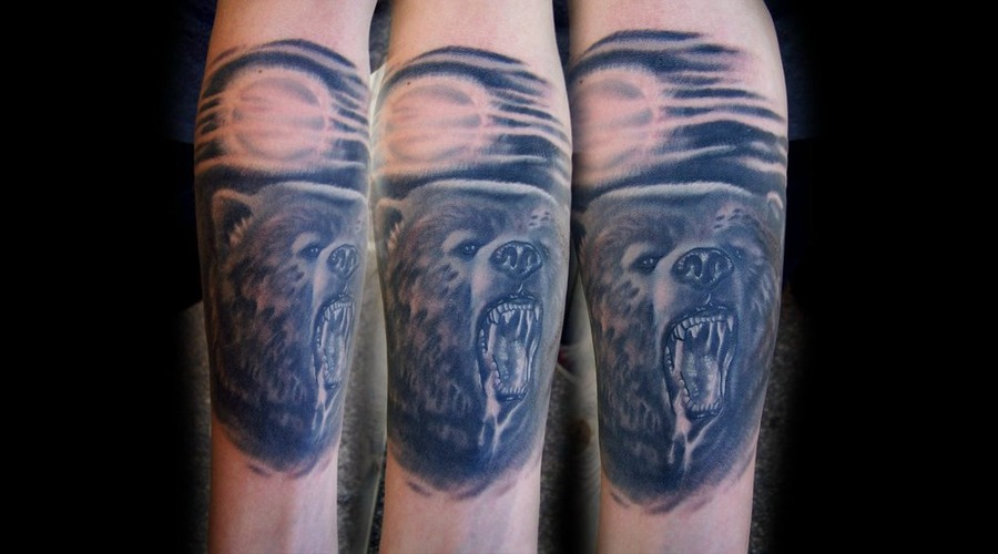 Bear Tattoo Black White