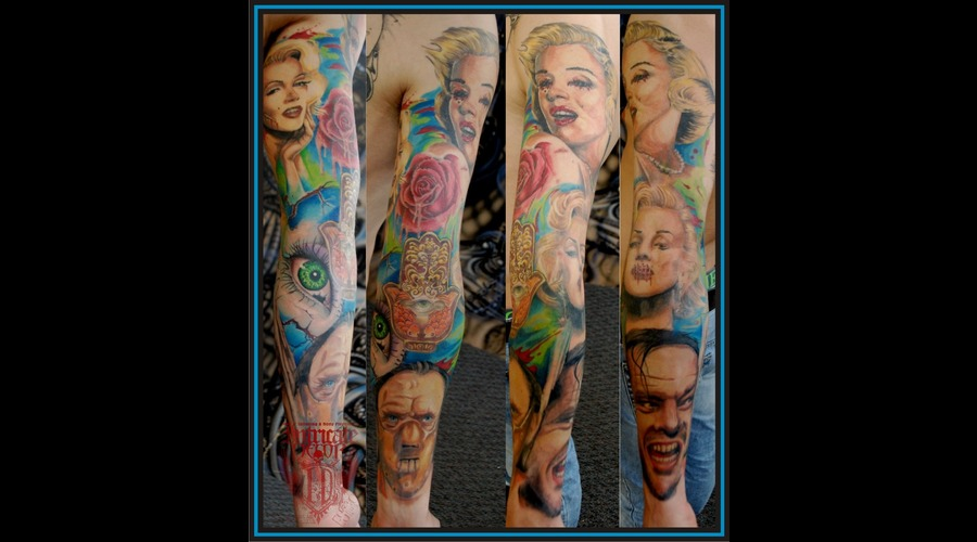 Sleeve Mens Marilyn Monroe Shining Lector Portrait Color Arm