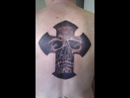 Skull In Cross. Black White