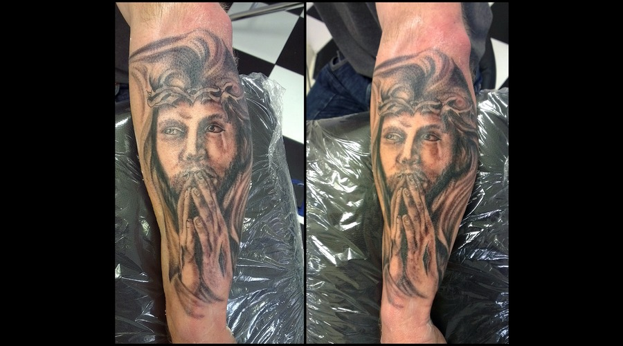 Religious Half Sleeve. Black White