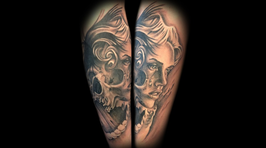 Skull Woman Face Day Of Dead Sugar Skull Portrait Black Grey Arm