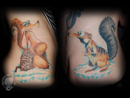 Ice Age  Couple Tattoo  Scrat Color