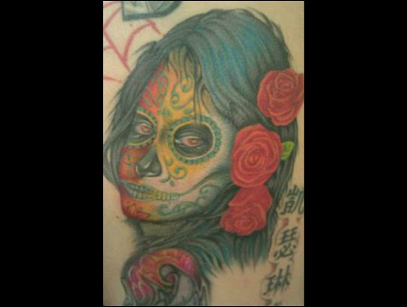 Sugar Skull  Roses Color