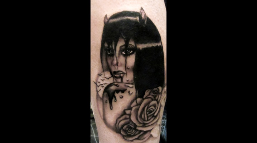 Vampire Black White Lower Leg