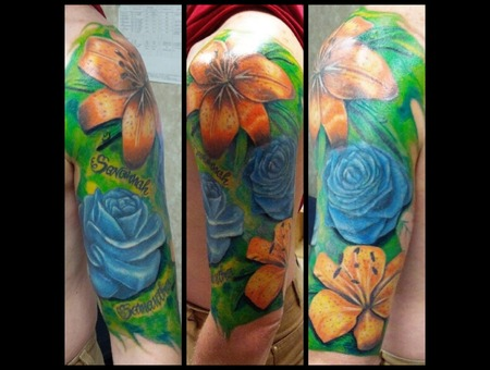 Flower Half Sleeve  Roses  Flowers  Tiger Lilly Color