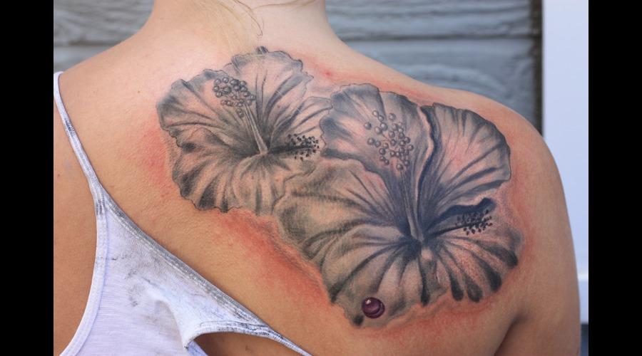 Hibiscus Flower Black White