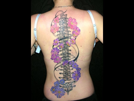 Spine Flowers 2 Sittings Custom Work Color