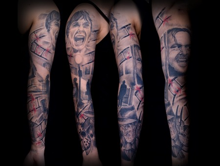 Horror  Portrait  Sleeve Black White