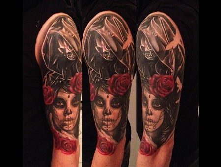 Day Of The Dead Tattoo  La Catrina Tattoo Death Tattoo... Black White