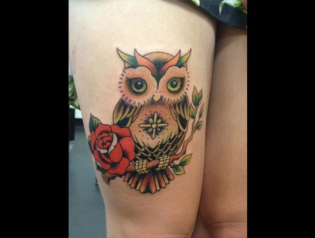 Tattoo By Charlie Tapper  Owl  Traditional Old School Custom Color
