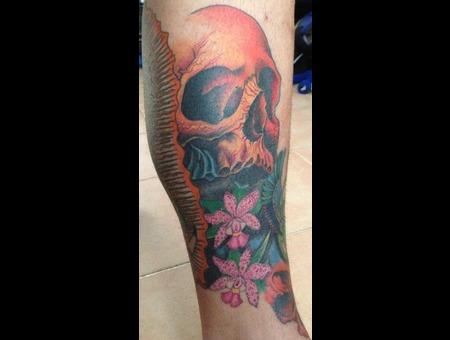 Skull Flowers Color