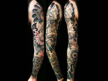 Snake  Flower And Full Sleeve Tattoo Black Grey Arm