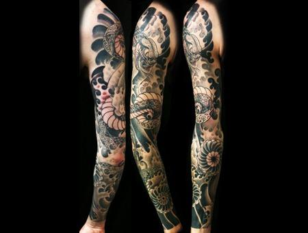 Snake  Flower And Full Sleeve Tattoo Black White