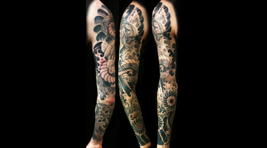 Snake  Flower And Full Sleeve Tattoo Black White