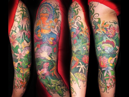 Flower  Girly  Full Sleeve Tattoo Color Arm