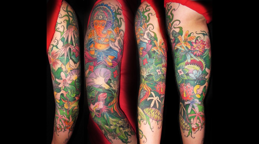 Flower  Girly  Full Sleeve Tattoo Color