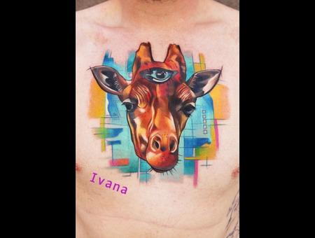 Giraffe Head With Third Eye Color Chest