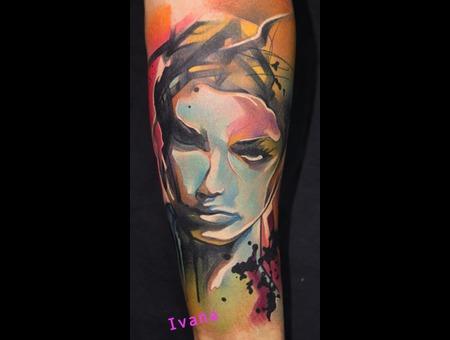 Watercolor Portrait Of Woman Color Forearm