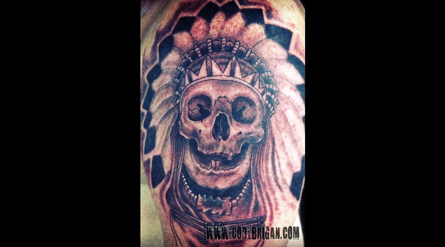 Native American Skull Black White