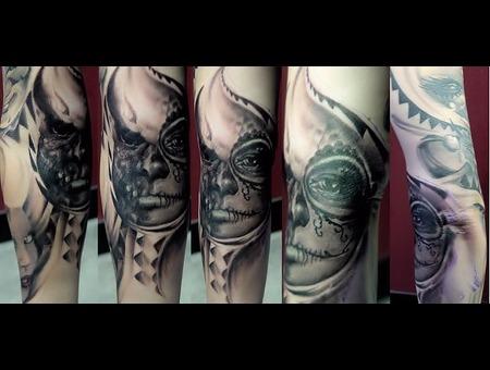 Skulls Custom Freehand Monsters Los Muertas Black Grey