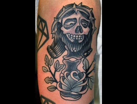 Jesus  Skull  Traditional Tattoos Color