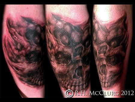 Skulls Custom Freehand Monsters Black Grey