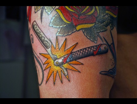 Straight Razor  Traditional Tattoos Color
