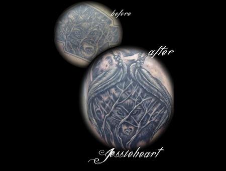 Coverup Tattoo  Wolf  Harley Davidson   Black White