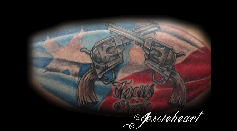 Texas  Texas Pride  American Flag  Tattoo  Color Tattoo  Pistol Color