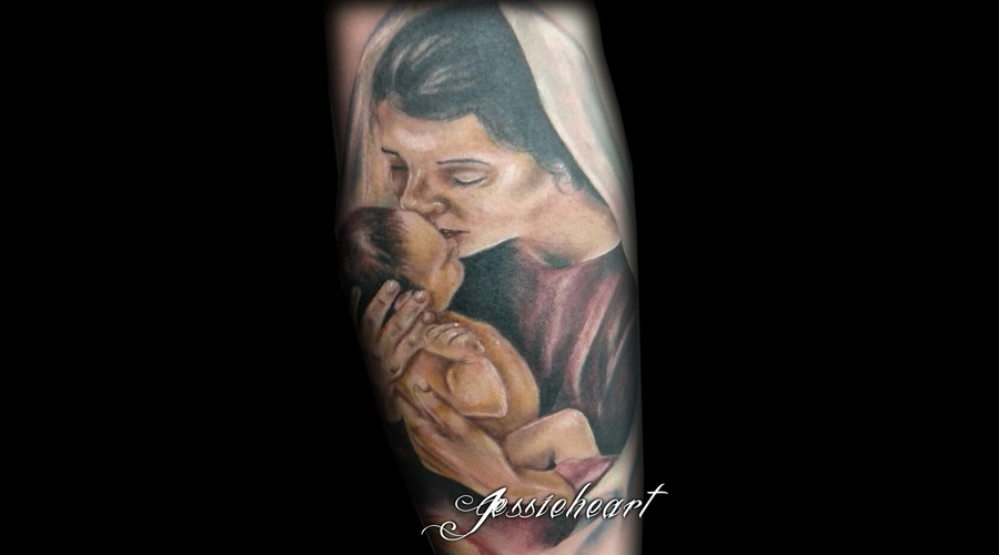 Mary  Jesus  Baby  Color Tattoo Color