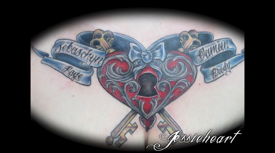 Chest Tattoo  Heart  Lock And Key Color