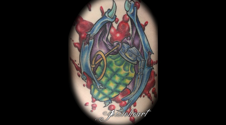 Grenade Tattoo  Color  Blood  Side Tattoo Color
