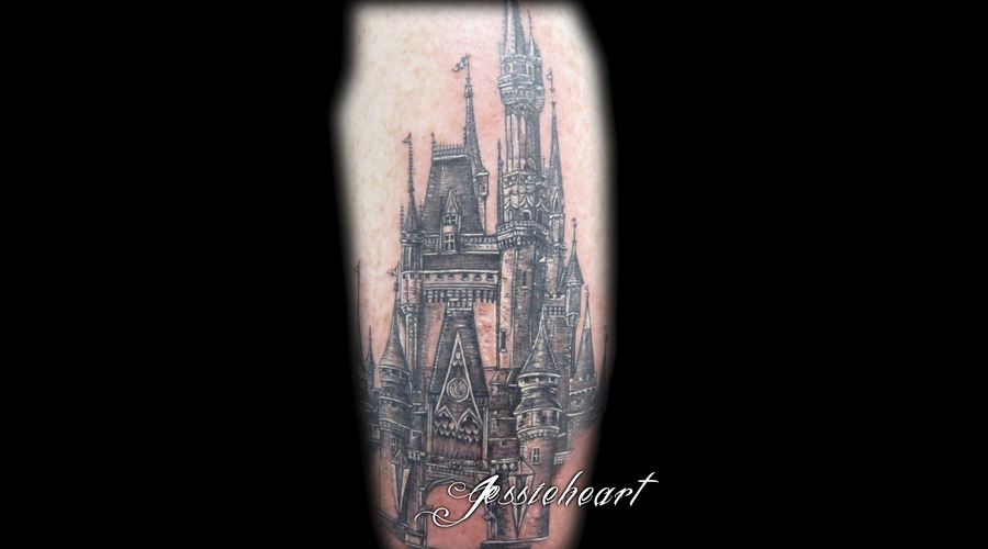 Disney Castle  Cinderella  Tiny Lines  Black And Grey Tattoo Black White