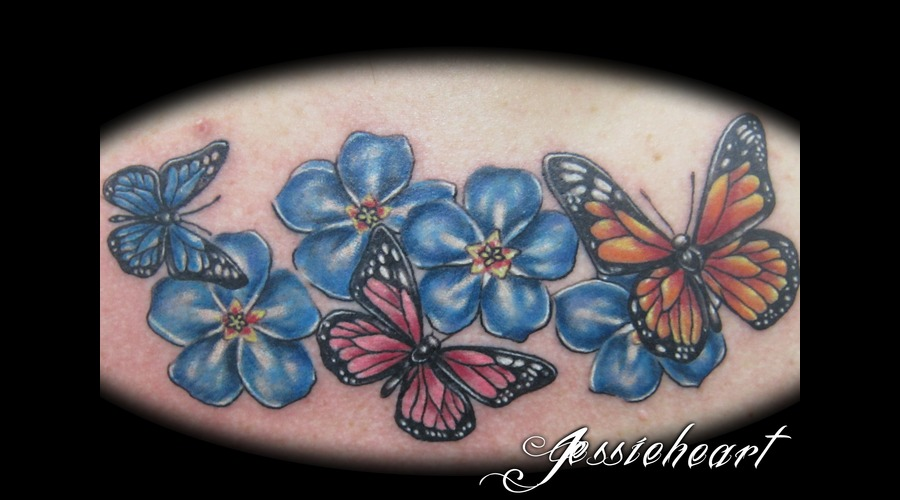 Butterfly  Color Tattoo  Flowers Color