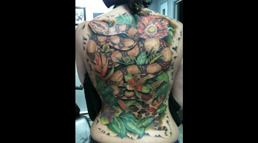 Snake  Back Piece  Flowers  Redtail Boa   Color