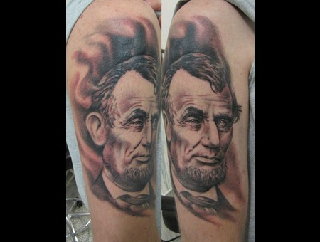 Portrait  Blackandgrey  Abraham  Lincoln  Coverup Black Grey