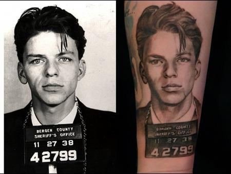 Portrait  Celebrity  Frank  Sinatra Black White