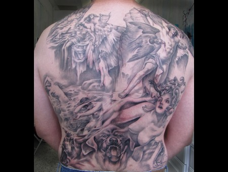 Greek  Myth  Backpiece  Medusa  Prometheus  Icarus  Cerberus Black White