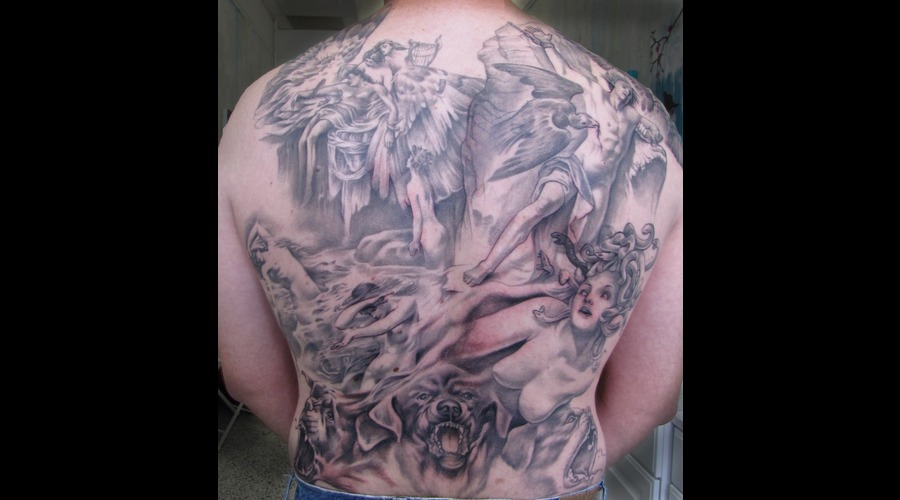 Greek  Myth  Backpiece  Medusa  Prometheus  Icarus  Cerberus Black White