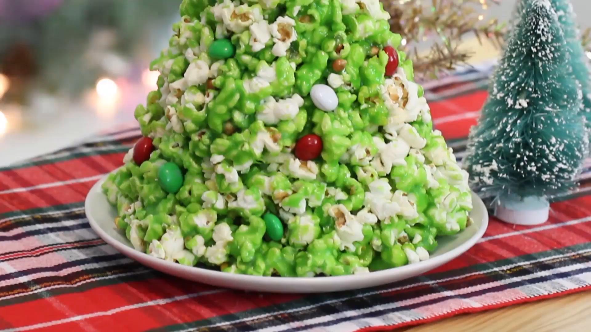 popcorn christmas tree recipe tastemade