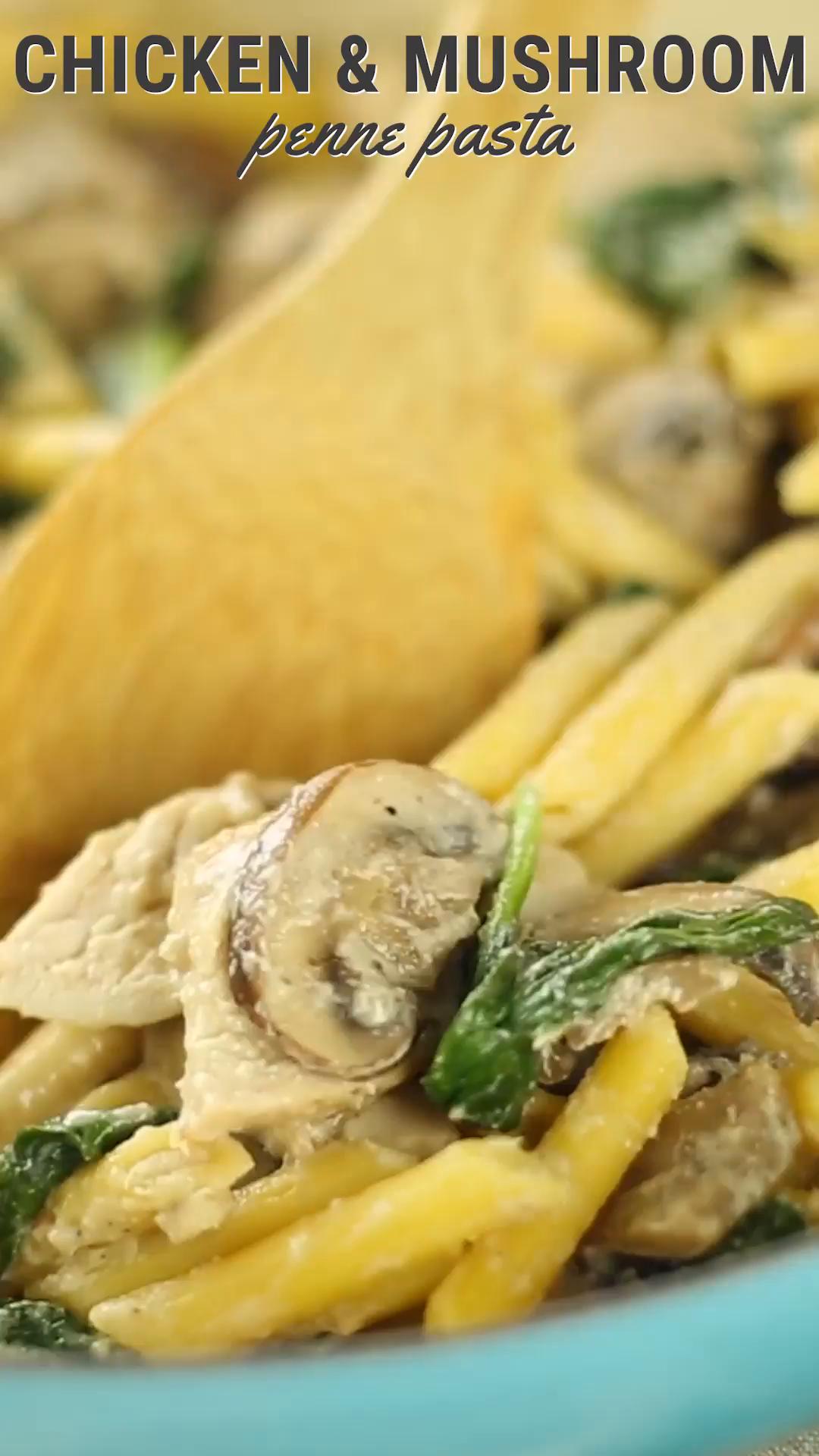 Chicken Mushroom Penne Pasta Healthy AF