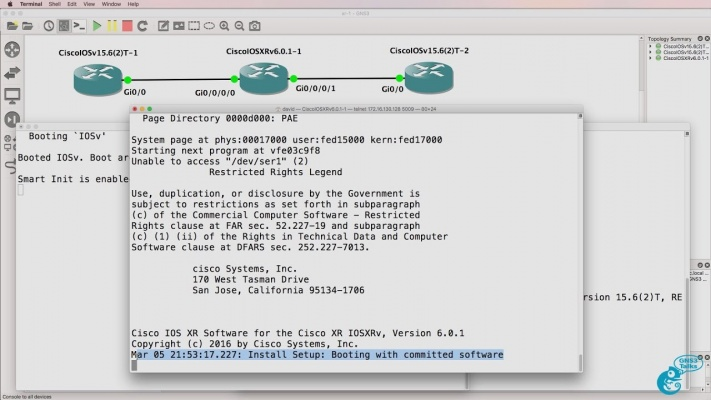 GNS3 Talks: Cisco IOS-XRv import and configuration Part 1: Don't forget to  commit your changes!
