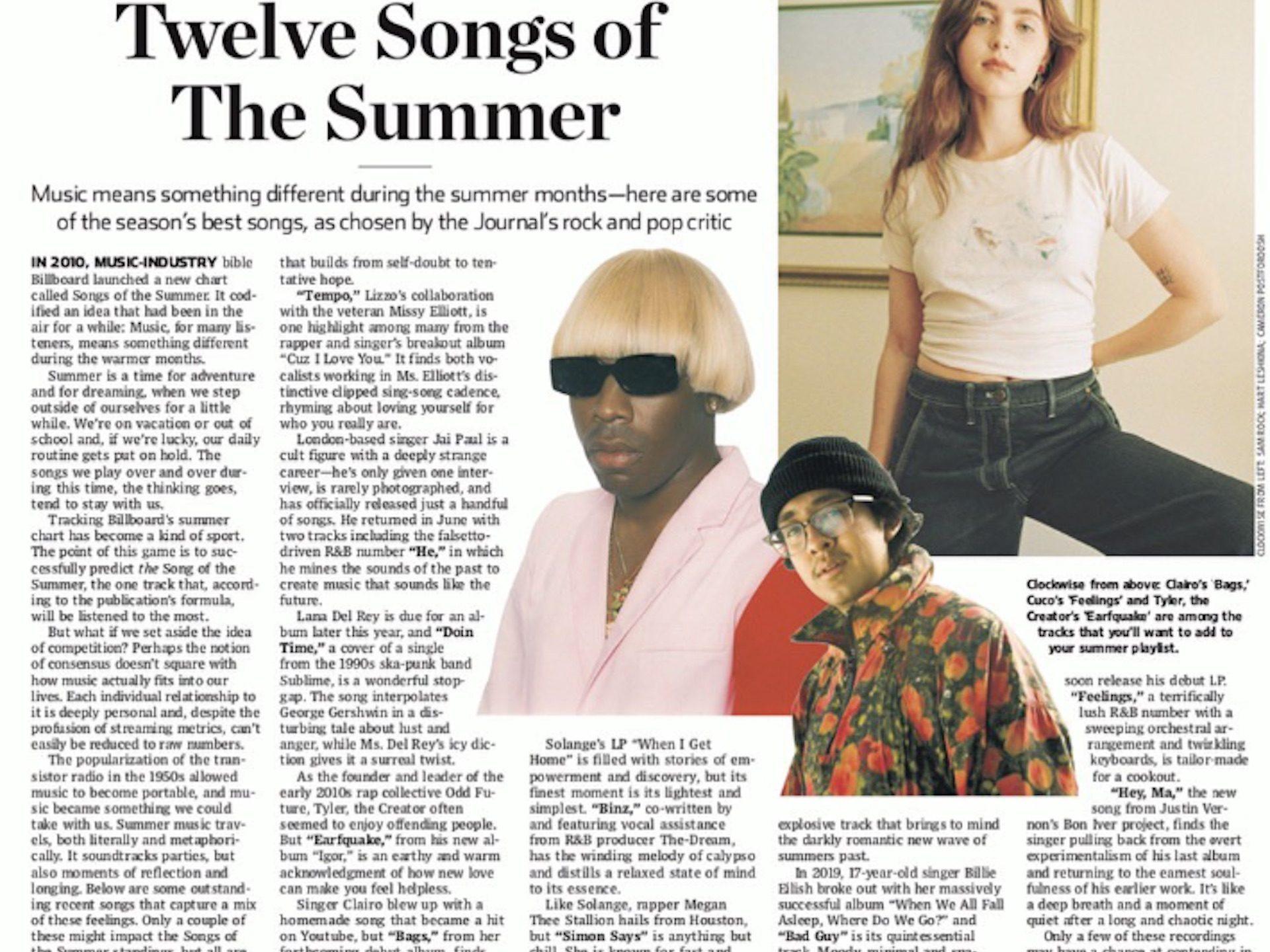 Twelve Songs of Summer WSJ Clairo Bags